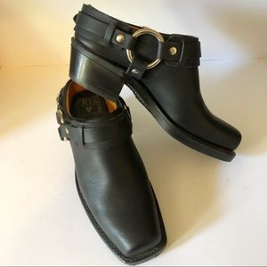 Frye Black Leather Harness Boots Clogs Mules
